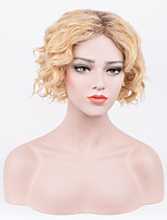 Women Synthetic Wig Capless Short Curly Afro Blonde Dark Roots Middle Part Bob Haircut Party Wig Celebrity Wig Halloween Wig Natural Wigs