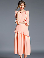 Damen Chiffon Swing Kleid-Lässig/Alltäglich Einfach Solide Rundhalsausschnitt Midi 3/4 Ärmel Polyester Herbst Hohe Hüfthöhe