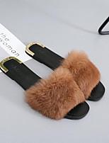 Damen Schuhe Vlies Herbst Winter Komfort Slippers & Flip-Flops Flacher Absatz Offene Spitze Für Normal Kleid Schwarz Grau Braun