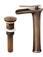 Neoclassical Centerset Widespread with  Ceramic Valve Single Handle One Hole for  Antique Copper , Bathroom Sink Faucet