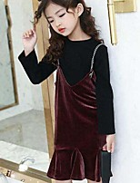Girls' Solid Sets,Cotton Modal Nylon Spring Fall Long Sleeve Clothing Set