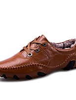 Men's Shoes Synthetic Microfiber PU Winter Fluff Lining Formal Shoes Comfort Oxfords Lace-up For Casual Office & Career Brown Black