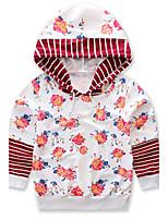 Girls' Stripe Floral Jacket & CoatCotton Spring Fall Long Sleeve