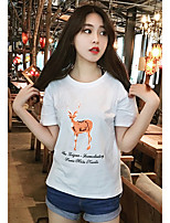 Women's Going out Cute Spring Summer T-shirt,Animal Print Round Neck Short Sleeves Cotton Opaque