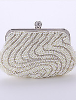 Women Bags All Seasons Polyester Evening Bag Crystal Detailing Pearl Detailing for Wedding Event/Party Champagne White Black Almond