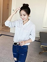 Women's Going out Casual/Daily Sexy Simple Street chic Spring Fall Shirt,Solid Striped Shirt Collar Long Sleeves Cotton Others Thin Medium