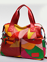 Women Bags All Seasons PU Tote Zipper for Casual Outdoor Black Red