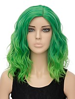 Women Synthetic Wig Capless Short Water Wave Green Ombre Hair Halloween Wig Costume Wig