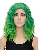 Donna Parrucche sintetiche Senza tappo Pantaloncini Onda effetto mare Verde Capelli schiariti Parrucca di Halloween Parrucca per