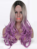 Women Synthetic Wig Capless Long Wavy Purple Ombre Hair Natural Wigs Costume Wig
