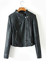 Women's Going out Casual/Daily Simple Spring Fall Leather Jacket,Solid Stand Long Sleeve Regular Others