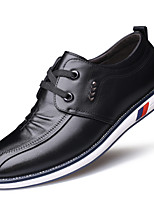 Men's Oxfords Formal Shoes Comfort Fall Winter Real Leather Leather Casual Office & Career Ruffles Lace-up Flat Heel Brown Black Flat