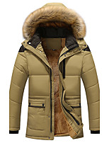 Men's Long Padded Coat,Simple Plus Size Casual/Daily Solid-Cotton Acrylic Polyester Polyester Long Sleeves
