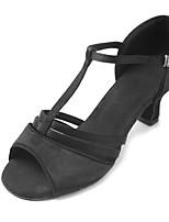 Damen Latin Satin Sandalen Absätze Anfänger Verschlussschnalle Kubanischer Absatz Schwarz 2,5 - 4,5 cm Maßfertigung