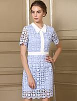 Damen Spitze Kleid-Lässig/Alltäglich Einfach Solide Hemdkragen Knielang Kurzarm Nylon Sommer Mittlere Hüfthöhe Unelastisch Mittel