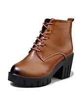 Feminino Sapatos Couro Ecológico Outono Coturnos Botas Salto Grosso Ponta Redonda Cadarço Para Social Preto Castanho Escuro