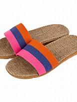 Women's Slippers & Flip-Flops Comfort Summer Fall Linen Casual Split Joint Flat Heel Red Purple Orange Flat