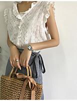 Women's Going out Cute Spring Summer Shirt,Solid V Neck Sleeveless Linen Thin