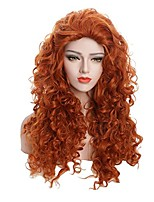 Women Synthetic Wig Capless Long Curly Wavy Brown Natural Hairline Party Wig Halloween Wig Carnival Wig Cosplay Wig Costume Wig