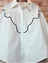Для женщин На выход На каждый день Рубашка Рубашечный воротник,Простое Полоски Длинный рукав,Хлопок