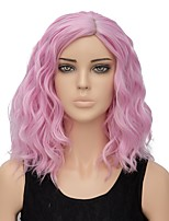 Women Synthetic Wig Capless Short Water Wave Pink Ombre Hair Halloween Wig Costume Wig
