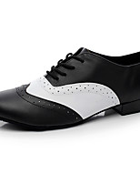 Men's Jazz Nappa Leather Heel Indoor Splicing Black Customizable