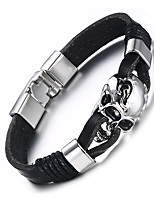 Men's Leather Bracelet Hip-Hop Rock Leather Titanium Steel Skull / Skeleton Jewelry For Party Birthday Gift Evening Party