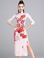Latin Dance Dresses Women's Performance Ice Silk Pattern/Print 1 Piece 3/4 Length Sleeve Natural Dresses