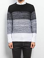 Men's Casual/Daily Regular Pullover,Color Block Round Neck Long Sleeves Cotton Fall Medium Micro-elastic