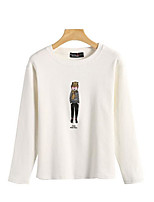 Women's Going out Simple T-shirt,Solid Print Round Neck Long Sleeves Cotton