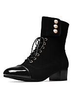 Women's Shoes Flocking Patent Leather Fall Winter Comfort Boots Chunky Heel Square Toe Pearl Lace-up For Outdoor Office & Career Gray