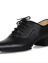 Men's Latin Real Leather Oxford Indoor Splicing Chunky Heel Black 1