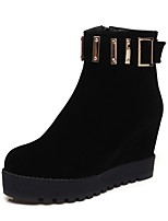 Women's Shoes Leatherette Winter Snow Boots Fashion Boots Boots Creepers Round Toe Booties/Ankle Boots Zipper For Casual Dress Black