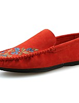 Men's Shoes PU Spring Fall Moccasin Comfort Loafers & Slip-Ons Ruched For Casual Khaki Blue Orange Black