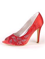 Women's Shoes Silk Spring Fall Basic Pump Wedding Shoes Stiletto Heel Peep Toe Round Toe Rhinestone For Wedding Party & Evening Ivory Red