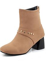Femme Chaussures Similicuir Cuir Nubuck Automne Hiver boîtes de Combat Bottes à la Mode Bottes Gros Talon Bout carré Bottine/Demi Botte