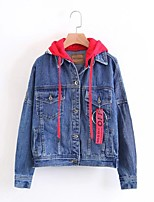 Women's Casual/Daily Simple Spring Fall Denim Jacket,Solid Hooded Long Sleeve Regular Others
