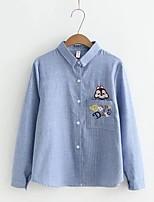 Camicia Da donna Per uscire Casual Semplice Romantico Moda città Primavera Autunno,A strisce Ricamato Colletto Cotone Lino Manica lunga