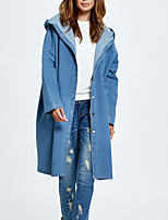 Women's Going out Casual/Daily Simple Street chic Spring Fall Denim JacketSolid Hooded Long Sleeve Long Polyester Oversized