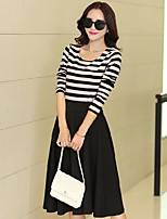 Women's Casual/Daily Simple Summer T-shirt Skirt Suits,Striped Round Neck Long Sleeve