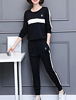 Women's Plus Size Casual/Daily Simple Fall Hoodie Pant Suits,Print Round Neck Long Sleeve Inelastic