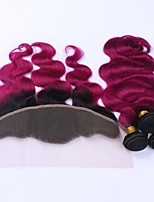 Human Hair Indian Hair Weft with Closure Body Wave Hair Extensions 4 Pieces Black/Dark Wine