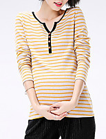 Women's Casual/Daily Work Simple Fall Winter T-shirtStriped V Neck Long Sleeves Cotton Medium