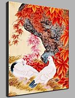 Dipinta a mano Vintage Verticale,Artistico Stile naturalistico Rustico Moderno/Contemporaneo Ufficio Capodanno Natale Un Pannello Tela