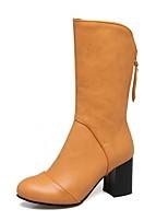 Для женщин Обувь Дерматин Весна Зима Модная обувь Ботинки На толстом каблуке Заостренный носок Сапоги до середины икры Молнии Назначение