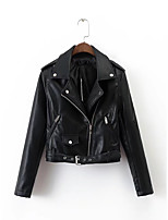 Women's Going out Casual/Daily Simple Active Street chic Fall Winter Leather Jacket,Solid Notch Lapel Long Sleeve Regular Others