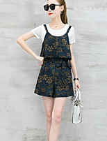 Women's Going out Street chic Summer T-shirt Pant Suits,Print Round Neck Short Sleeve