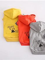 Dog Hoodie Dog Clothes Casual/Daily Letter & Number Yellow Gray Orange