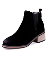Feminino Sapatos Pele Nobuck Tecido Outono Inverno Botas da Moda Coturnos Botas Salto Grosso Ponta Redonda Botas Curtas / Ankle Para