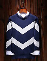 Men's Plus Size Casual/Daily Simple Boho Street chic Regular Pullover,Solid Striped Color Block Round Neck Long Sleeves Cotton Polyester
